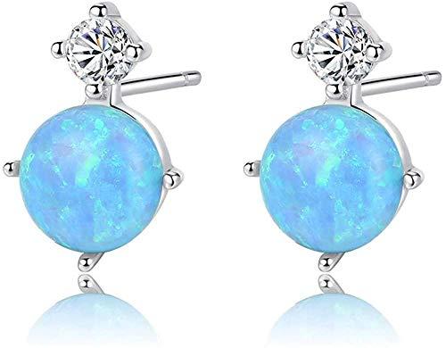 Pendientes de ópalo , tachuelas de plata 925, forma redonda para mujer, piedra natal de octubre, joyería de moda para mujer-azul