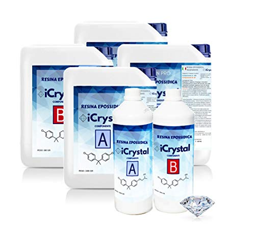iCrystal - 3 KG - Résine Époxy Transparente non Toxique - Bicomposant A+B, Effet d'Aau, Polissage, Pour Créations Artistiques, Restauration, Carrelage Mural, Revêtement de Sol, Modelage