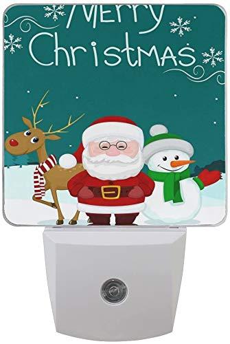 1 pack de Navidad Santa muñeco de nieve, ciervo copo de nieve, luz nocturna LED de noche desde el atardecer al amanecer, sensor Plug In Night Home Decor lámpara de escritorio para adultos