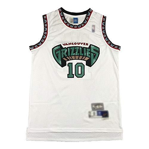 Jersey de Mike Bibby, Vancouver Grizzlies Retro Jerseys Suture Verde y Blanco, Suture Transpirable Malla Baloncesto Jersey (S-XXL) White-M