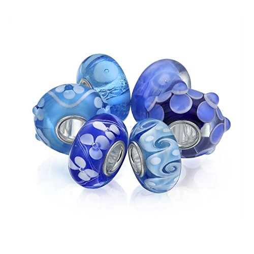 Bling Jewelry Light Blue Floral Murano Glass Mix Set of 6 Sterling Silver Spacer Bead Fits European Charm Bracelet for Women for Teen