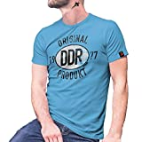Original DDR Produkt 1977 Trabbi Plakette Ostblech KFZ Ost Siegel T Shirt #27458, Größe:XXL, Farbe:Hellblau