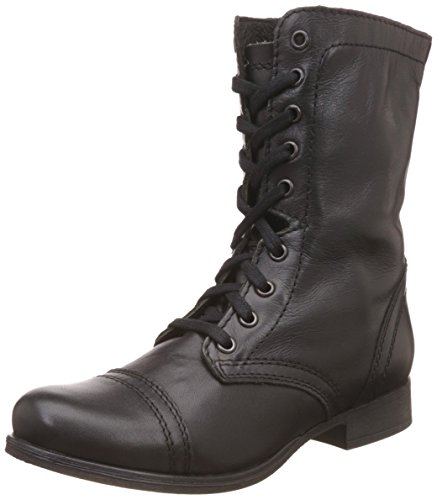 Steve Madden Women's Troopa Lace-Up Boot, Black Leather, 7.5 M US