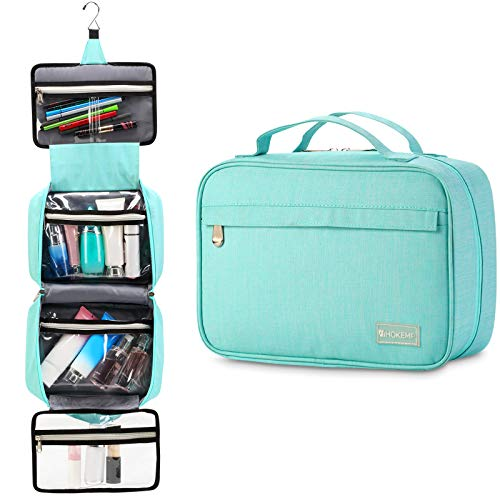 Hanging Travel Toiletry Bag for Men and Women - Large Capacity Cosmetic Wash Bag with 4 Compartments, Perfect for Travel Organize & Daily Use by HOKEMP (Light Blue)