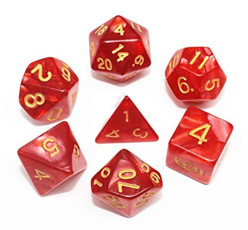 Rot DND Polyedrische Würfel Set für Dungeons und Dragons D&D Pathfinder RPG MTG Rollenspiel Perle Dice mit Würfelbeutel