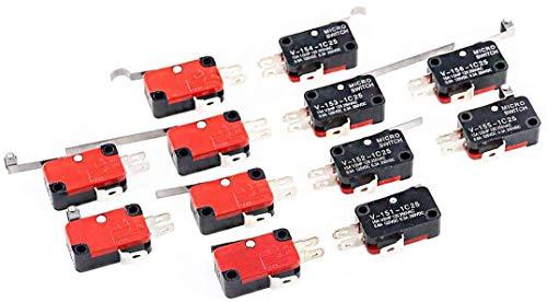 RUNCCI-YUN 12 pezzi Micro Interruttore Finecorsa,leva lunga,SPDT,mini,pulsant, momentaneo,Micro Interruttore A Levetta, (V-151-1C25 a V-156-1C25 )