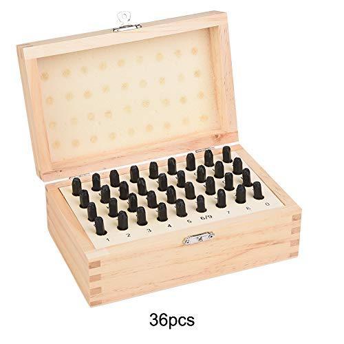 36 STKS 4/5/6 mm Letter/Nummers Stempels Ponsen Gereedschap, Staal Imprinted Ponsen Gereedschap voor DIY Craft Markering met Houten Doos Case 4mm