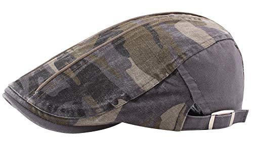 AIEOE - Boinas Hombre Mujer Unisex Verano Primavera Gorro Plano de Algodón Casual Clásico Hat Flat Cap con Visera Sombrero de Sol Ajustable