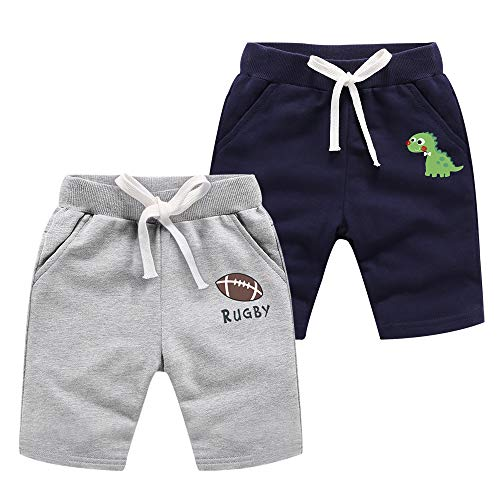 Azalquat Baby Boys Summer Knit Shorts with Pocket, 2 Pack Toddler Pull-On Soft Active Shorts (Rugby & Dinosaur, 6 Years)