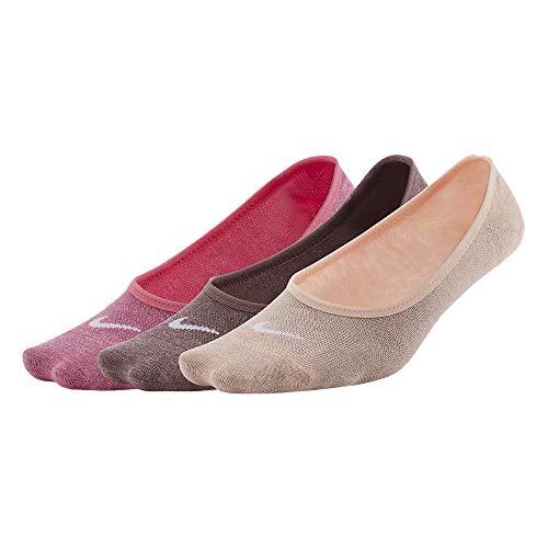 NIKE W NK EVRY LTWT Foot 3PR Socks, pinksickle(white)/smokey mauve(white)/washed coral(white), S Womens
