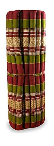 livasia Kapok Liegematte der Marke Asia Wohnstudio, 200cm x 110cm x 4,5cm; Rollmatte BZW. Yogamatte, Thaimatte, Thaikissen als asiatische Rollmatratze (rot/grün)