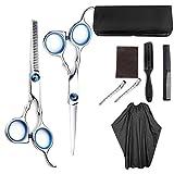 Sunronal 9PCS/Set Set de tijeras para cortar el cabello,tijeras profesionales para cortar el cabello Tijeras de peluquería para adelgazar Set de tijeras de peluquería Kit de afeitadoras ergonómicas