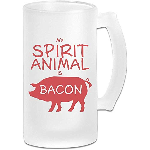 My Spirit Animal is Bacon Frosted Glass Stein Beer Mok, Pub Mok, Drank Mok, Gift for Beer Drinker, 500Ml (16.9Oz)