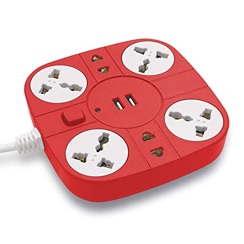 ADDMAX Extension Cord with USB Port – 10A 220V-50/60Hz [6 Outlet with 2 USB Port] [Fire Proof] [Smart USB Charging Port][Multi-Protection][1.8 Meter Cord] Multi Plug Extension Board - Red