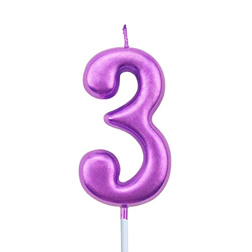 XNOVA 3rd Birthday Candle Three Years Purple Happy Birthday Number 3 Candles for Cake Topper Decoration for Party Kids Adults Numeral 30 23 37 33 13