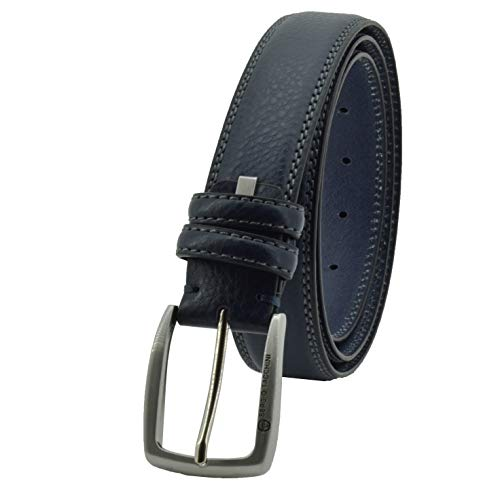 Sergio Tacchini Cintura Uomo In Vera Pelle, Fibbia Nickel Free Accorciabile (Blu Due Cuciture, 125 cm (TG 54-56))
