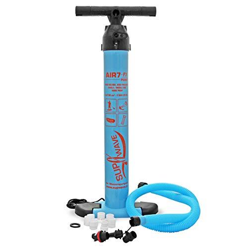 SUPwave® Air 7-FX SUP Hand Pumpe, Hochdruck Doppelhubkolbenpumpe, Luftpumpe, SUP Kite Schlauchboot Luftmatratze Pumpe Doppelkolben Hub