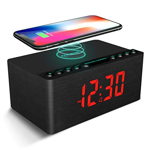 ANJANK Wooden Alarm Clock with FM Radio,...