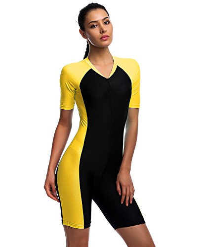 One Piece Swimsuit for Girl Belloo Short-sleeve Surfing Suit Sun Protection, Yellow, Medium