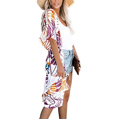 Gebell Kimono Donna – Floreale chiffon kimono Cardigan lungo bikini da spiaggia copertura Up 3/4 manica boho estiva camicia leggera giacca da spiaggia Colore: arancione. L