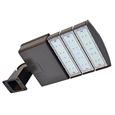 Docheer 300W 200W 150W LED Shoebox Light Parking Lots Pole Lights Fixture Flood Lighting Outdoor Site Street Area Light with Slip Fitter Stadium Lamp Road Light Arm Mount, Daylight White 5300K