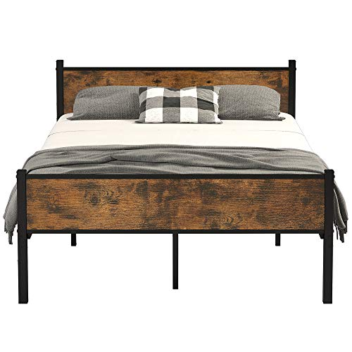 IRONCK Queen Bed Frame with Headboard Industrial, Bed Frame Queen Size with 16 Heavy Duty Steel Slats and 10 Legs, More Stronger, Noise-Free, Mattress Foundation No Box Spring Needed