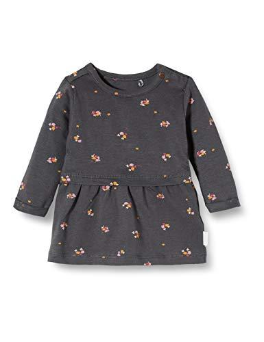 Noppies Baby-Mädchen G Dress ls Canon City AOP Kleid, Grau (Ebony P441), (Herstellergröße: 80)