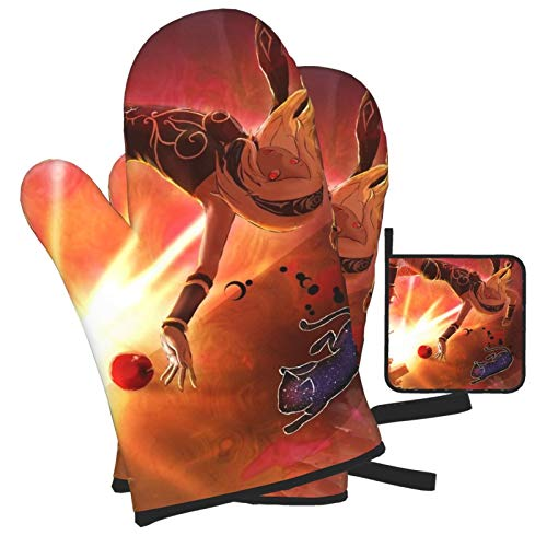 Woidxzxza Kat &Amp; Dusty Oven Mitts and Pot Holders Set, Heat Resistant Kitchen Bake Gloves...