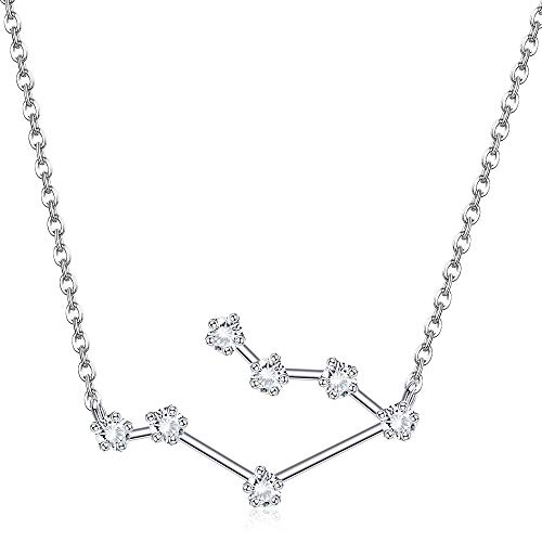 Sllaiss 925 Sterling Silver Horoscope Zodiac Sign Necklace for Women 12 Constellation Pendant Necklace Cubic Zirconia Astrology Necklace