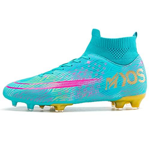 LucaSng Zapatos de Fútbol Hombre Spike Aire Libre Profesionales Atletismo Training Botas de Fútbol Ligero Tacos Fútbol Zapatos de Deporte Unisex niños (Verde Amarillo, 42)