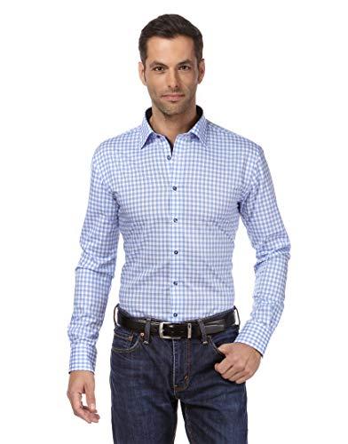 Vincenzo Boretti Herren-Hemd bügelfrei 100% Baumwolle Slim-fit tailliert kariert New-Kent Kragen - Männer lang-arm Hemden für Anzug Krawatte Business Freizeit hellblau 39-40