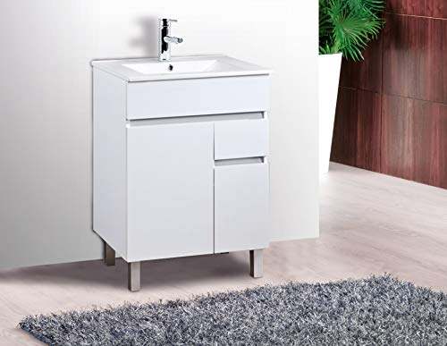 Mueble de baño con Lavabo de Porcelana - 2 Puertas y 1 Cajón amortiguado - El Mueble va MONTADO - Modelo Clif (60 cms, Blanco)
