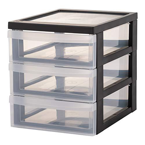 Iris Ohyama, Lot de 2 mini tours de rangement / organiseurs de bureau à 3 tiroirs - Design Chest - DC-A5, plastique, noir/transparent, 3 x 2 L, 25,8 x 19,1 x 22 cm