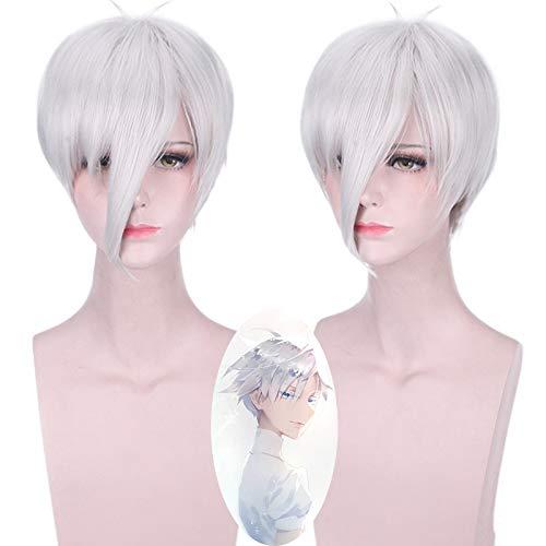 Anime Houseki No Kuni Antrticita Cosplay Peluca de pelo corto plateado blanco disfraz de adulto Pelucas+Antrtida Tierra de los Lustrosos
