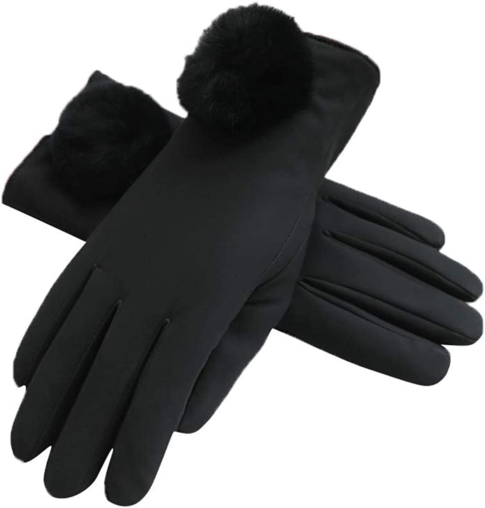 Luxury Leather Gloves for Women Winter Gifts, Soft Skin-Touch Leather Fleece Lined Gloves Full Finger Windproof