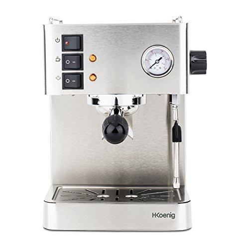 H.Koenig EXP530 Cafetera Express Espresso Profesional, 15 Bares, 1.7 L, 1450 W,Vaporizador Orientable, Doble Salida, Acero Inoxidable EXP350, 1.7 litros, Gris