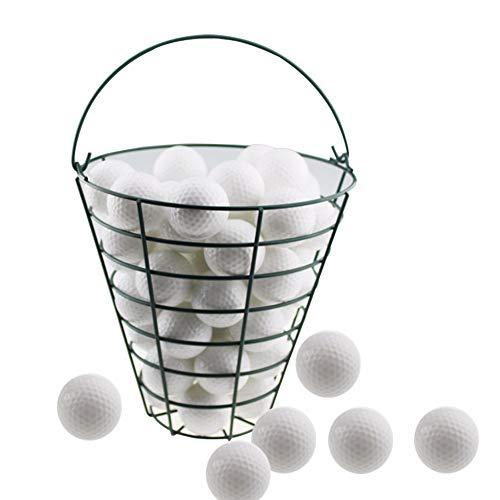 Mitrc Stahldraht-Golf-Eimer, Golfkorb-Behälter-beweglicher Golfkorb mit Spitzengriff kann 50 Stück Golfbälle