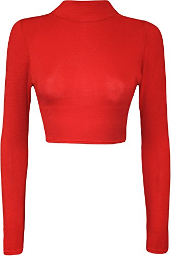 Womens Turtle Neck Crop Long Sleeve Plain Top-Thin Fabric RED-L/XL