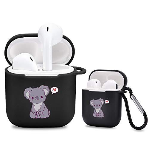 Idocolors Custodia per Airpods 2 & 1 Carino Koala Cover in Silicone Morbida [Supporta la Ricarica Wireless] [Moschettone] AirpodsCase - Nero