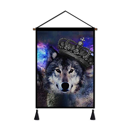 YISAMSON Premium Tapestry Wolf Art Poster Howling Wolf Wall Decor, Animal Wall Hanging for Bedroom Living Room Dorm Decorations Ready to Hang - 18x26 Inches