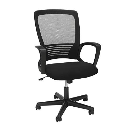 HON Mesh High-Back Task Chair, Stationary Loop Arms, in Black