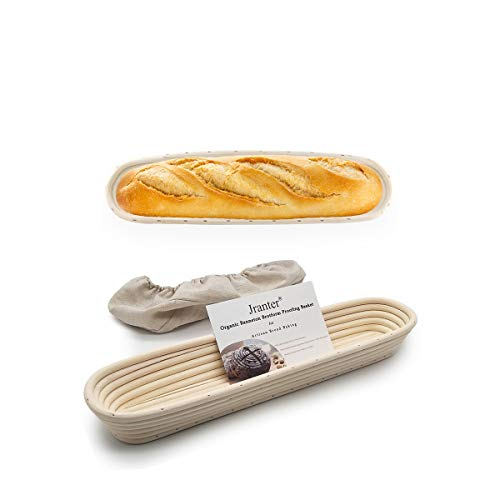 15 inch Baguette Banneton Proofing basket set of 2 - Bread Basket Proofing Bowls for Baguette Fermentation Bread Dough Sour with Beautiful Pattern and Shape