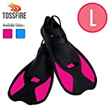 TOSSFIRE Diving Fins Short Floating Snorkeling Fins with Thermoplastic Rubber Fins for Diving