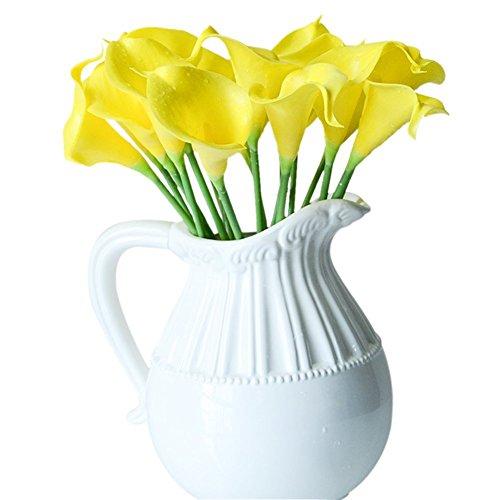 Labellevie Bouquet di Calla Lilies Fiori Artificiali Della decorazione del Fiore da Sposa Festa Casa 10 pezzi Giallo
