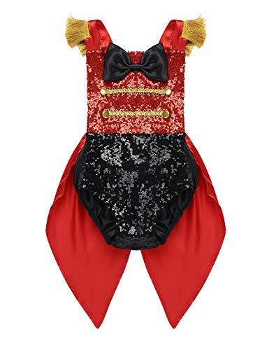 CHICTRY Baby Mädchen Kostüm Zirkus Direktor Cosplay Manege Circus Strampler Bodysuit Pailletten Frack mit Quaste Träger Faschingskostüm Gr. 68-104 Schwarz & Rot 86-92/18-24 Monate