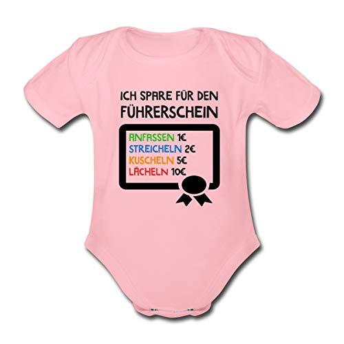 Ich Spare für Den Führerschein Baby Bio-Kurzarm-Body, 56, Hellrosa