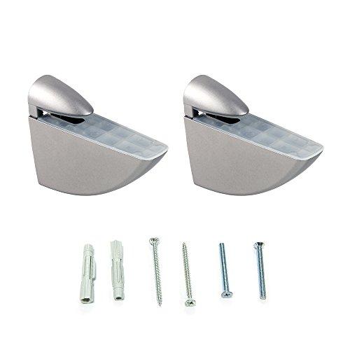 Emuca 4009325 Lote de 2 soportes mod. Aguila para estante de madera o cristal de espesor 8-40mm acabado pintado aluminio