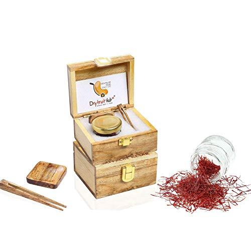 DRY FRUIT HUB Saffron 1gm Threads Original Pure and Organic Finest A++ Grade Kashmiri Kesar for Pregnant Women with Antique Wooden Box