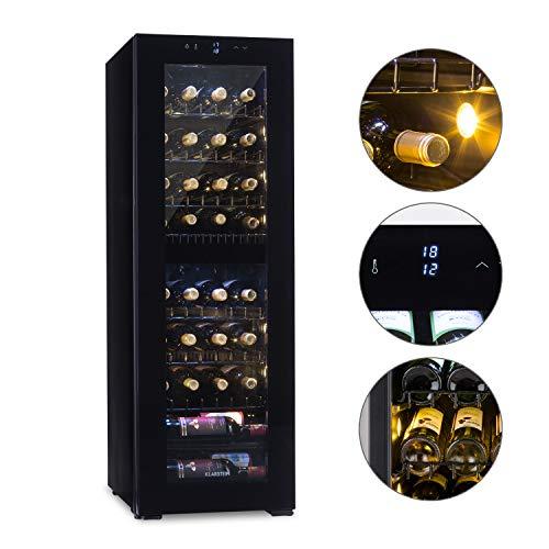 Klarstein Bellevine deux 39 Flex Weinkühlschrank - 2 Zonen, 105 Liter, 39 Weinflaschen, freistehend, leise im Betrieb, Touch-Bedienung, 5 bis 20 °C, Beleuchtung, Panorama-Tür, schwarz