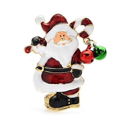Jinglebell Santa Claus Brooches Cute Enamel Father Christmas Brooch Pins Women Unisex New Year Gifts